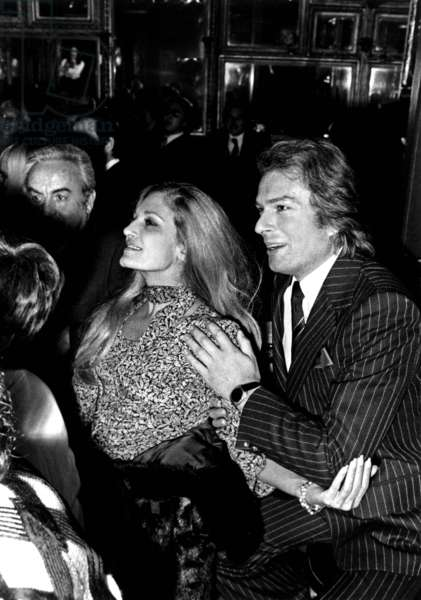 Dalida with her Lover Richard Chamfray Count of Saint Germain at a Party in Paris, early 1975 (photo)