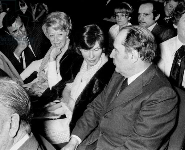 Francois Mitterrand, his wife Danielle Mitterrand, Christine Gouze Renal (sister of Danielle Mitterrand) and her husband Roger Hanin at the Premiere of Dalida at the Olympia, Paris, 6 January 1977 (photo)