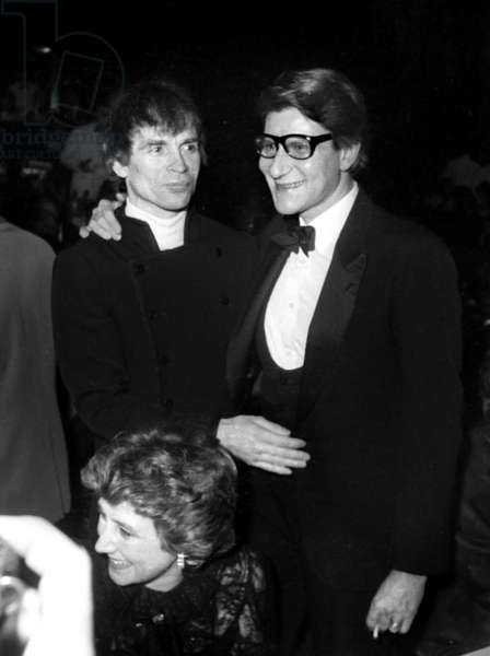 Yves Saint Laurent celebrating his 20 years of Haute Couture with Rudolph Noureev, Lido , Paris, 29 January 1982 (photo)