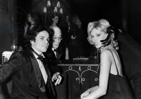 Amanda Lear, her husband Alain Philippe Malagnac d' Argens de Villele and Roger Peyrefitte at the Mrs Soekarno's  Birthday Party, 5 February 1980 (photo)