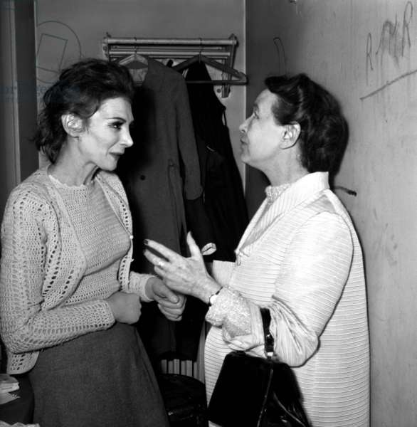 French writer Simone de Beauvoir congratulating the actress Nathalie Nerval after performance of the play