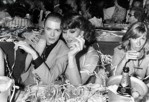 Singer David Bowie at Alcazar Parisian Cabaret May 18, 1976 With Romy Haag (b/w photo)