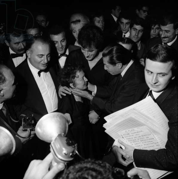 French Singer Edith Piaf congratulated by Bruno Coquatrix, Theo Sarapo and Serge Lifar after her concert at the Olympia , Paris, 27 September 1962 (photo)