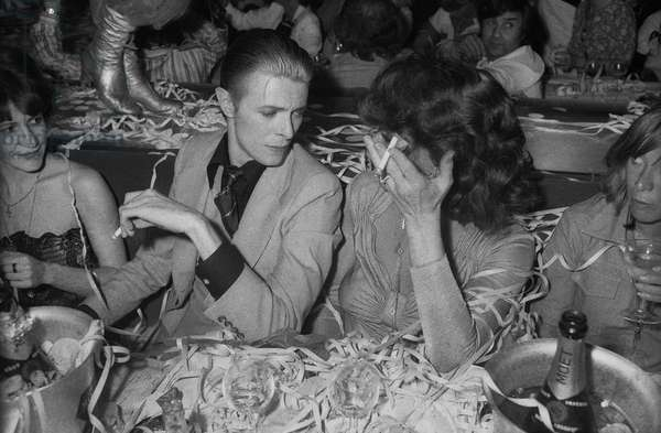 Singer David Bowie at Alcazar Parisian Cabaret May 18, 1976 With Romy Haag (b/w photo)