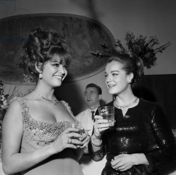 Actresses Claudia Cardinale and Romy Schneider at The French Movie Prize Ceremony, 19 December 1964 (photo)