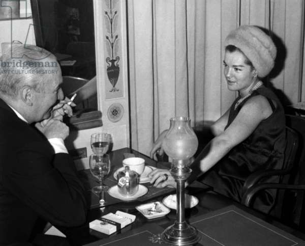 Romy Schneider and her Stepfather Hans Herbert Blatzheim at Romy Schneider's Birthday, 22 September 1964  (photo)