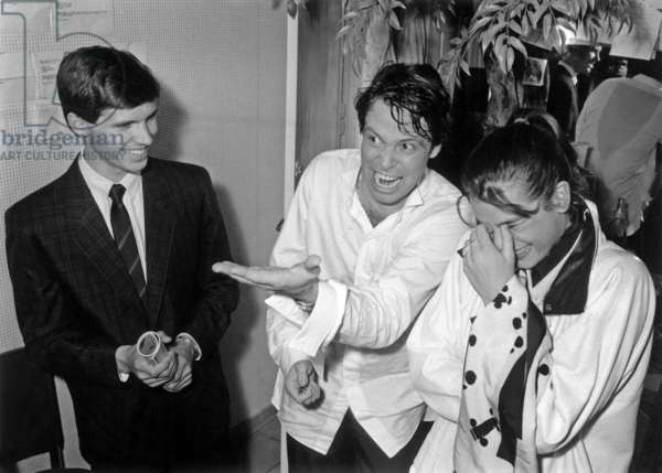 Paul Belmondo With Princess Stephanie De Monaco Congratulating Michel Leeb After his Show at Olympia April 18, 1984 (b/w photo)