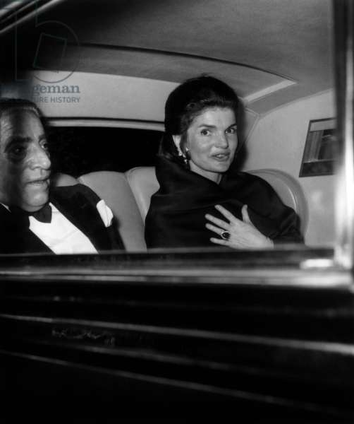 Aristote Onassis and Jackie Kennedy Onassis Leaving Residence of American Embassy in Paris, on March 29, 1970 (b/w photo)