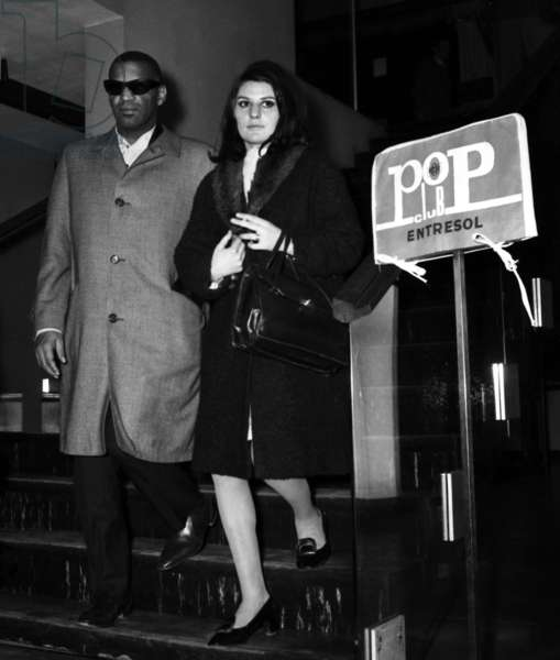 """Ray Charles with French friend Annick Sauvrezy after French radioprogram """"Le Pop Club"""", 2 May 1967 (photo)"""