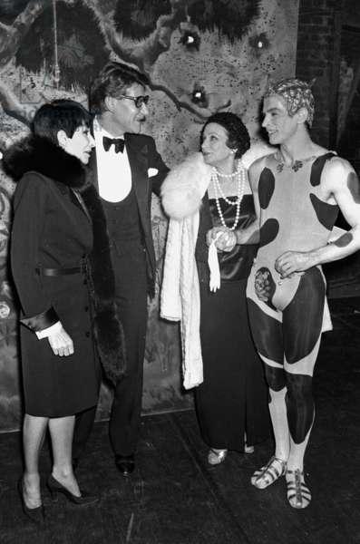 At The Opera Comique in Paris : L-R : Zizi Jeanmaire, Yves Saint Laurent, Yvette Chauvire, Rudolf Noureev February 23, 1981 (b/w photo)