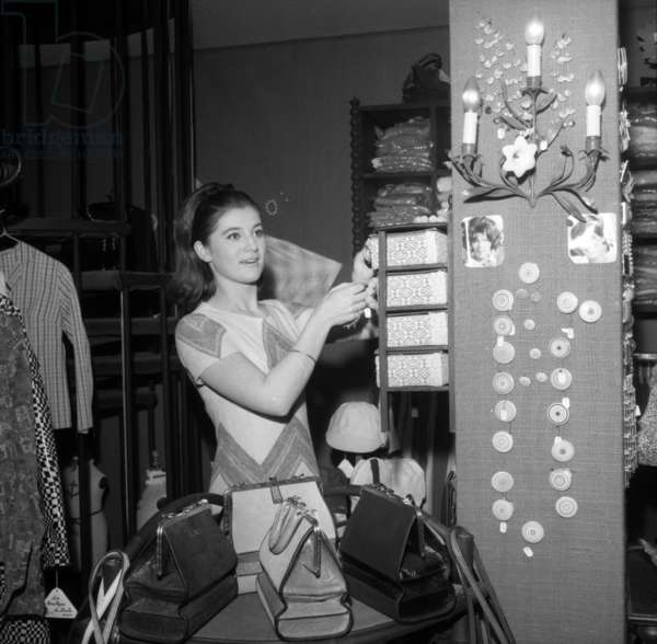Sheila (French singer) at the Opening of her Shop, Paris, 31 March 1966 (photo)