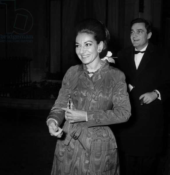 """Maria Callas at the Premiere of musical """"L'homme de la Mancha"""" , Paris, 10 December 1968 (photo)"""