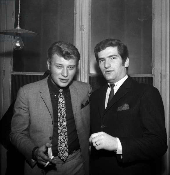 Johnny Hallyday and Eddy Mitchell at the Golf Drouot (Nightclub), Paris, 25 February 1966 (photo)