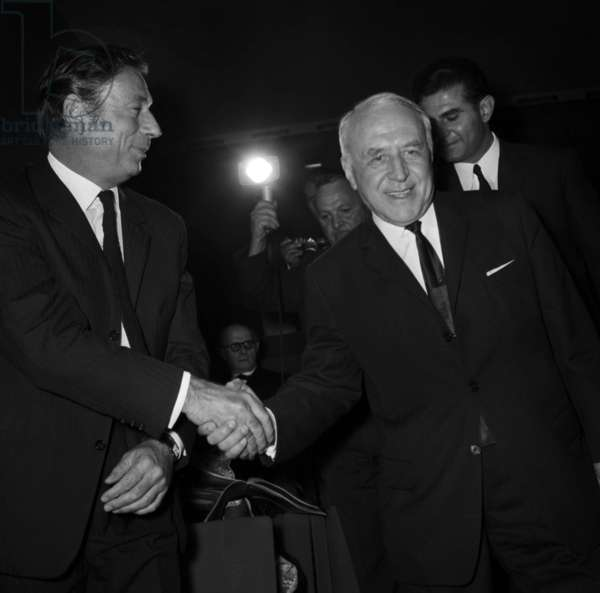 "Yves Montand at the Premiere of the documentary ""Revolution d'Octobre"", Paris, 9 October 1967 (photo)"