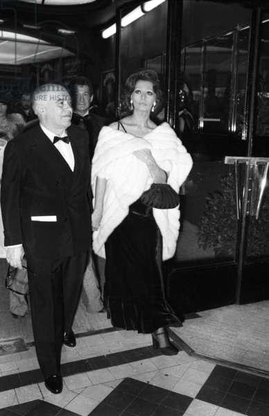 Carlo Ponti and Sophia Loren at The Premiere of Josephine Baker in Bobino, Paris, 8 April 1975 (photo)