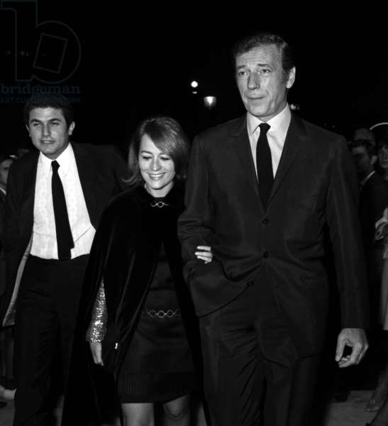 """Claude Lelouch, Annie Girardot and Yves Montand at the Premiere of the film """"Live for Life"""", Paris, 13 September 1967 (photo)"""