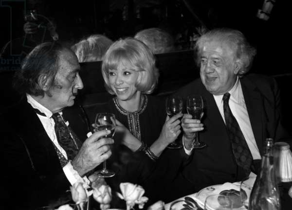 Salvador Dali, Mireille Darc and Michel Simon for the Premiere of the film