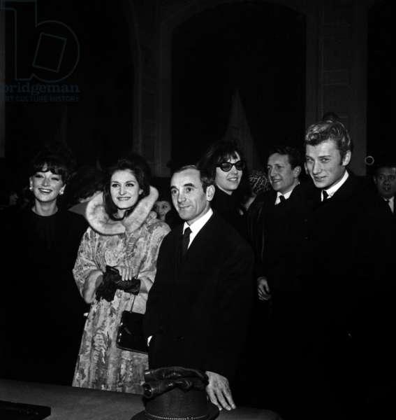 Dalida, Charles Aznavour and Johnny Hallyday at the wedding of Gisele Sandre and Richard Balducci, Paris, 17 January 1963 (photo)