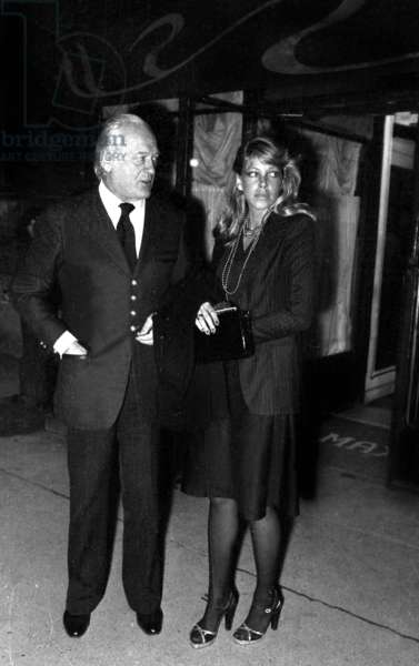 Curd Jurgens and a friend leaving Maxim's Restaurant, Paris, 1974 (photo)