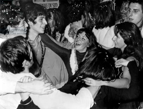 Anne-Marie Peysson and Patrick Balkany at A Brasilian Party at The Bilboquet on March 6, 1968 (b/w photo)