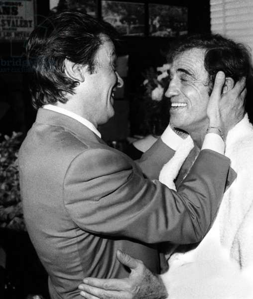"Alain Delon congratulating Jean Paul Belmondo at the Premiere of the play ""Kean"", October 1986 (photo)"
