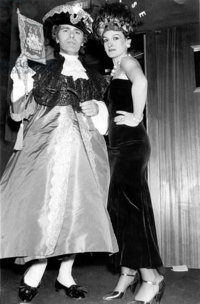 Karl Lagerfeld With Paloma Picasso at The Venetian Ball at The Palace in Paris October 26, 1978 (b/w photo)