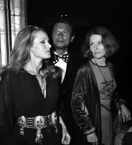 "Ursula Andress with a friend at the Premiere of the show ""Zizi je t'aime"" at Casino de Paris, 21 February 1972 (photo)"