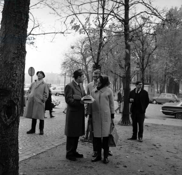 Actors Audrey Hepburn and Cary Grant with director Stanley Donen on the set of the film Charade, Paris, 10 November 1962 (photo)