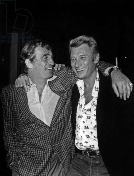 Jean Paul Belmondo and Johnny Hallyday at the King Club (photo)
