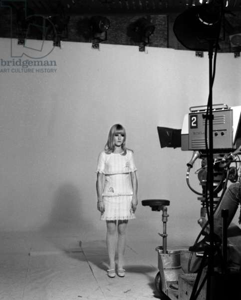French Singer France Gall during recording of TV Programme, 27 December 1966 (photo)