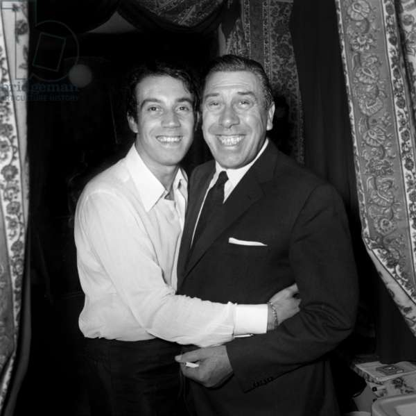 "Fernandel congratulating his son Franck after the Performance of ""Irma la Douce"", Paris, 22 October 1967 (photo)"