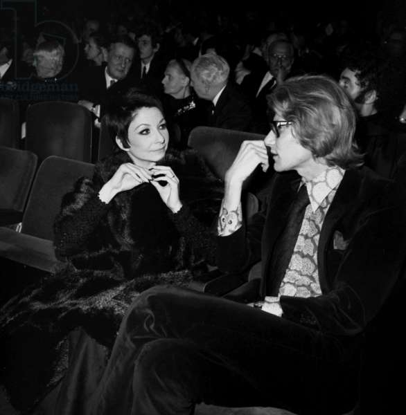 Zizi Jeanmaire and Yves Saint Laurent, Elsa Triolet and Louis Aragon the Premiere of Barbara at the Olympia, Paris, 4 February 1969 (photo)