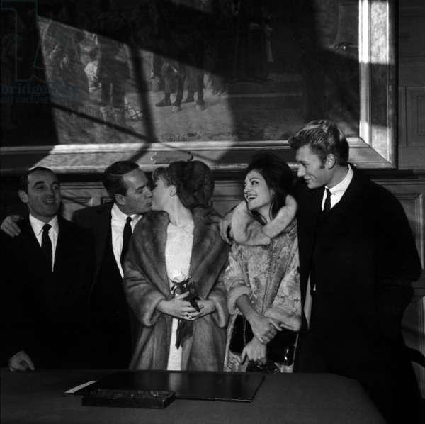 Singers Charles Aznavour Dalida and Johnny Hallyday at the Wedding of Gisele Sandre and Richard Balducci, 17 January 1963 (photo)