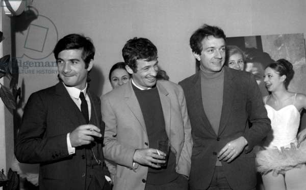 French Actors Jean-Claude Brialy, Jean-Paul Belmondo and Jean-Pierre Cassel at a meeting for the Gala of the Artists, Paris, 22 February 1966 (photo)