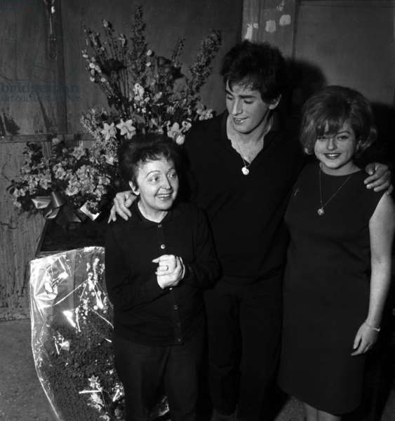 Edith Piaf with with her husband Theo Sarapo at piaf's Premiere in Bobino, Paris, 21 February 1963 (photo)