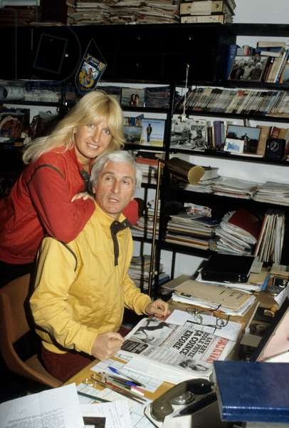 French Singer Marcel Amont and his wife Marlene at home, c. 1975 (photo)