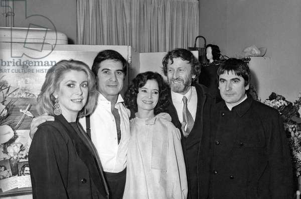 """Catherine Deneuve, Jean Claude Brialy, Marie Jose Nat, Claude Rich and Serge Lama at the Premiere of the play """"Desire"""", Theatre Edouard VII, Paris, 1 February 1984 (photo)"""