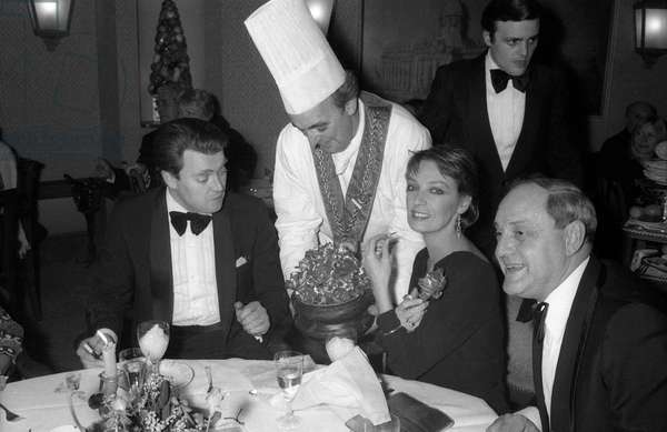 French singer and actress Marie Laforet at JeanMarais' birthday dinner, on December 10, 1976