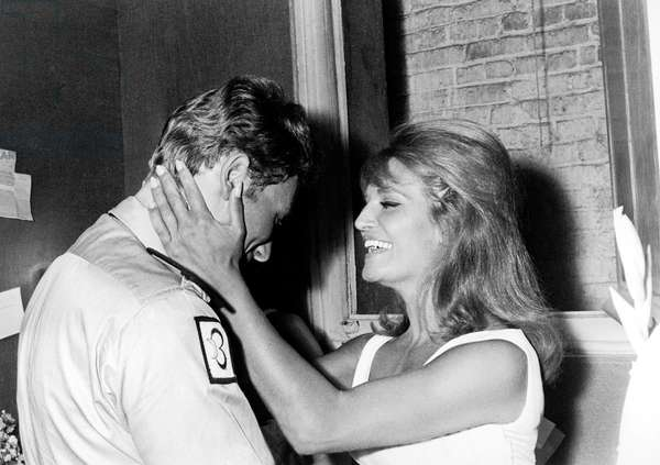 Johnny Hallyday congratulating Singer Dalida after the Premiere at the Olympia, 3 September 1964 (photo)
