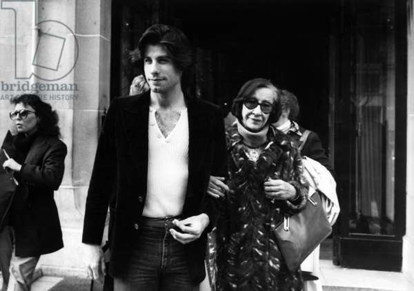 John Travolta and his Mother Helen in Paris March 28, 1978 (b/w photo)