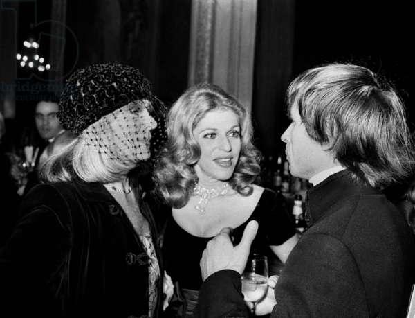 "Model Bettina, baroness Marie-Helene de Rotschild and Rudolf Noureev at performance of opera ""Don Quixote"", UNESCO Gala, Opera, Paris, 11 January 1974 (photo)"