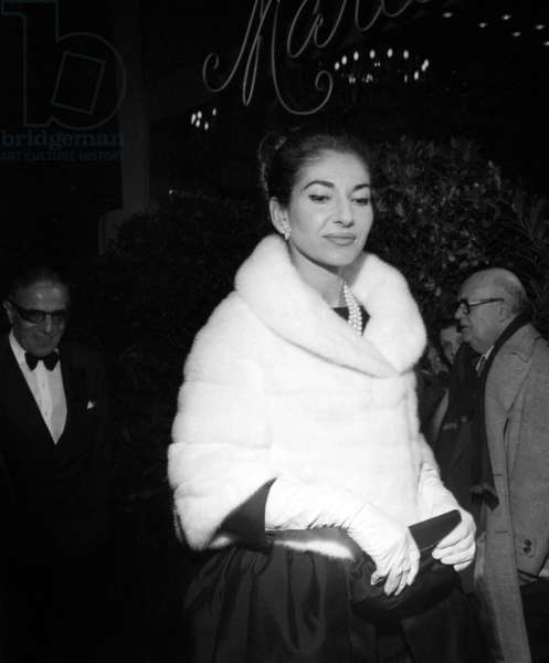 """Maria Callas and Aristote Onassis (behind her) at the Premiere of opera """"Norma"""", Paris, 22 May 1964 (photo)"""