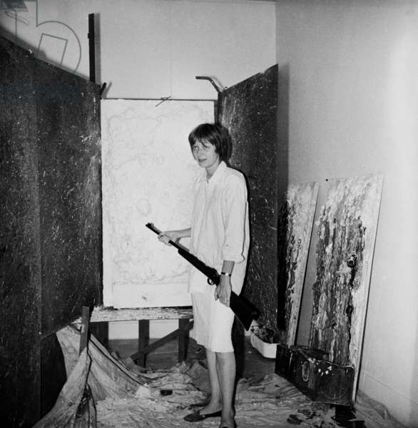 Niki de Saint Phalle during a session of 'Tirs', Paris, 30th June 1961 (b/w photo)