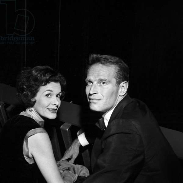 "Actor Charlton Heston with his wife Lydia at the Premiere of the film ""55 Days"", Peking, 8 May 1963 (photo)"