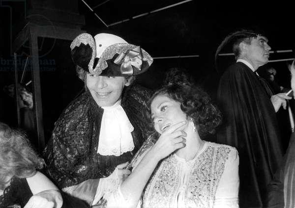 Karl Lagerfeld With Princess Soraya at The Venetian Ball at The Palace in Paris October 26, 1978 (b/w photo)