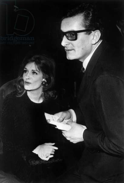 Singer Dalida with her lover Christian de la Maziere, Olympia, Paris, 4 December 1964 (photo)