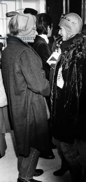 Andy Warhol at the opening of Valentino's shop, Paris, 23 october 1975 (photo)