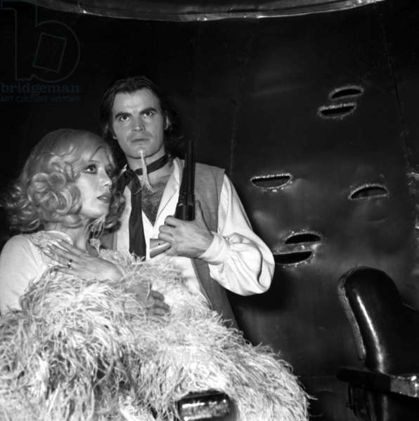 """Chantal Darget and Jean-Claude Drouot in the play """"Jean Harlow contre Billy the Kid"""", Paris, 23 January  1970 (photo)"""