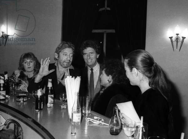 "Serge Gainsbourg and Jack Lang at the Premiere of the play ""Kean"" at the Theatre Marigny in Paris, October 1986 (photo)"