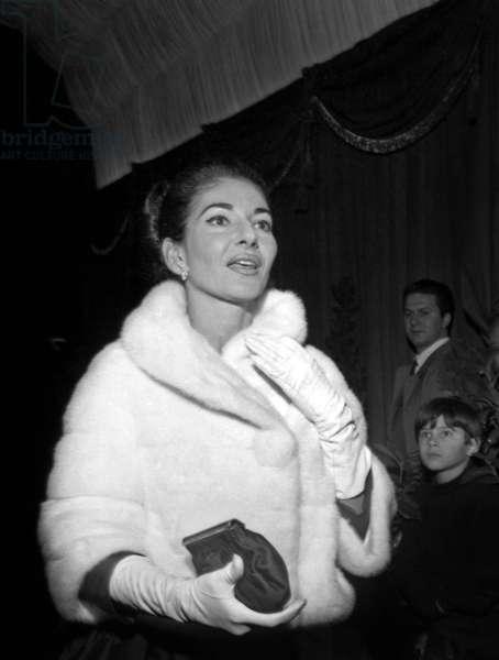 "Maria Callas at the Premiere of the film ""Angelqiue"", Paris, 8 December 1964 (photo)"